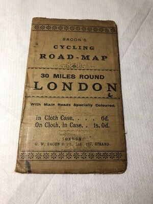 Vintage Antique Early Pocket Bacon's Cycling Road Map 30 Miles Round London