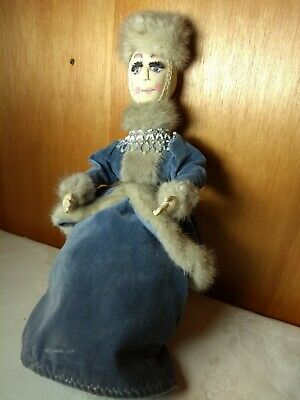 "Vintage Russian Costume Antique 16"" Doll Fur Grey Mink Cloth Hand Painted Face"