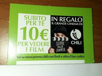 CHILI: coupon da 10€ per cinema, film, ecc! Gift card/voucher/buono 10€ (codice)