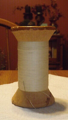 Antique Vintage Large Spool Twisted White String Store Twine String Thead