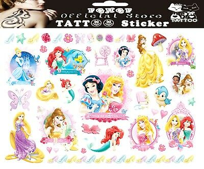 DISNEY PRINCESS Tattoo Sheet Girls Birthday Childrens Party Gift Bag Filler