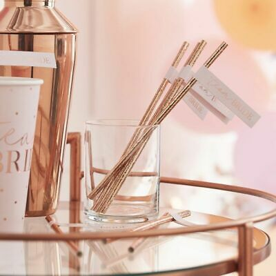 Team Bride Rose Gold Foiled STRAWS 16 Pack Bride to Be Hen Party Night Cocktails