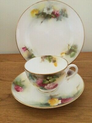 Royal Worcester Antique Hadley Roses Tea Cup Saucer Plate Trio Handpainted