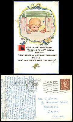 MABEL LUCIE ATTWELL 1957 Old Postcard Each Morning Send Loving Thought to U 5362