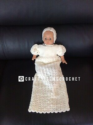 CLEARANCE Crocheted  Christening Gown and bonnet ~ 0-3 Months ~ Handmade