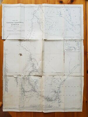 19th Century Engraving Large Map Of Eastern Equatorial Africa by J.H. SPEKE,