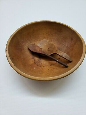 """Primitive 15"""" Wooden Bowl With Utensils"""