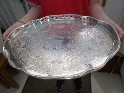 Superb Pepper & Hope Large Silver Plate Serpentine Gallery Tray Lovely Condition