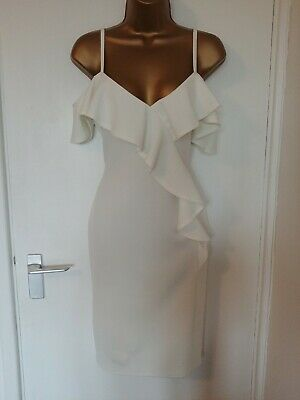 Lipsy ~ Size 12 ~ White Frill Off The Shoulder Dress