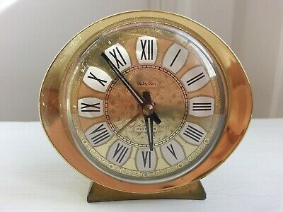 Vintage Baby Ben Westclox Wind-Up Gold Face Alarm Clock Made In Scotland Working