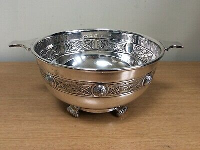 Antique Silver Plate Martin Hall & Co Round Handled Bowl Feet & Ornate Pattern