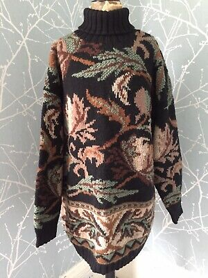 STUNNING! MONSOON HAND KNITTED Polo Neck Vintage Jumper Amazing Size Large