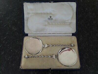 2 Solid Silver Flat Serving Spoons With Twisted Stems In Presentation Box