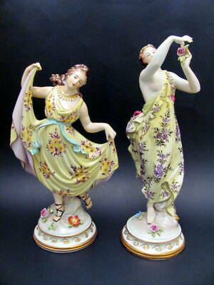 Antique Hand Painted Pair (2) Dresden Volkstedt Female Figurines Early 1900s
