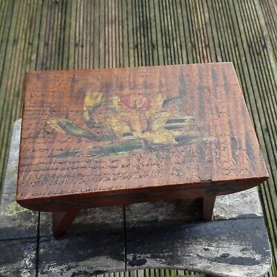 Antique Small Wooden Foot Stool With Flower Butterflies And Insects Design