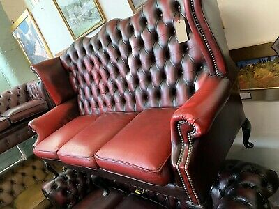 Oxblood Leather Three Seater Button Back Wing Back Chesterfield Five Legged Sofa