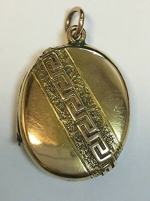 FINE QUALITY ANTIQUE ENGLISH 9 CARAT GOLD ETRUSCAN REVIVAL LOCKET PENDANT c1870