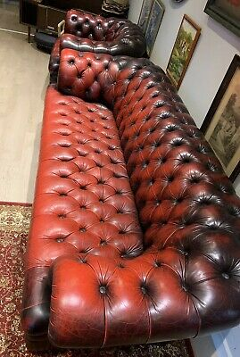 Oxblood Leather Full Buttoned Chesterfield Suite 3 Seater Sofa & Club Chair