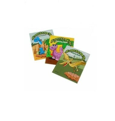 12 Mini Dinosaur Coloring Books Party Bag Fillers Favors Gift Prizes Birthday VP