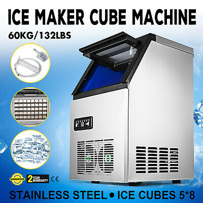 60Kg/Day Ice Cube Maker Machine Digital Control Stainless Steel Canteens 40Cases