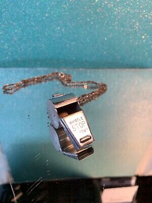 """Vintage Collectible Silver Tone Whistle, Marked Whistle Stop """"TM"""" With Chain"""