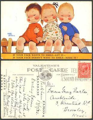 MABEL LUCIE ATTWELL 1932 Old Postcard If U Face Wants to Smile Let It 2135 Phone