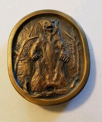 Vintage Grizzly Bear belt buckle Indian Metal Craft 1977 solid brass
