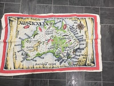 Vintage Irish Linen Tea Towel Australian Map Design