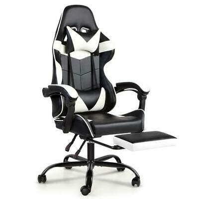 Artiss Gaming Office Chairs Computer Seating Racing Recliner Footrest Black Whit