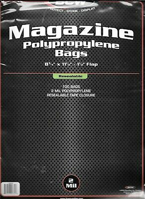 (100) Bcw Resealable Magazine Size Size Bags / Covers - Discounts On 2+ Packs
