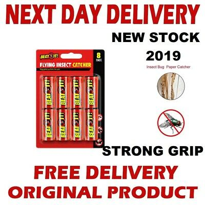 1x,8x Fly Paper Strong Sticky Glue Insect Bug Catcher Killer Roll Tape Strip UK