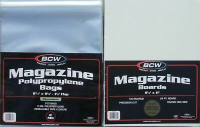 (100) Bcw Resealable Magazine Size Size Bags / Covers And Backing Boards