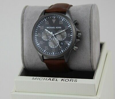 0476bfefd811 New Authentic Michael Kors Gage Grey Brown Leather Chronograph Mens Mk8536  Watch