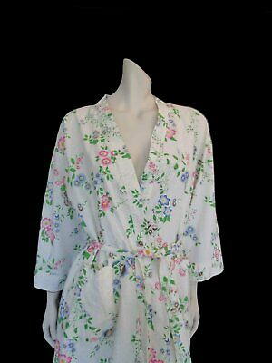 White Floral Cotton Robe or Dressing Gown