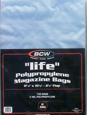 (100) Bcw Life Magazine Size Bags / Covers - Discounts On 2+ Packs