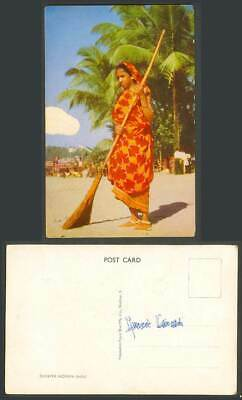 India Old Colour Postcard Sweeper Woman, Native Lady Sweeping with a Long Broom