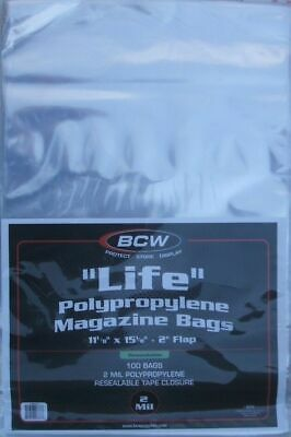 (100) Bcw Resealable Life Magazine Size Bags / Covers - Discounts On 2+ Packs