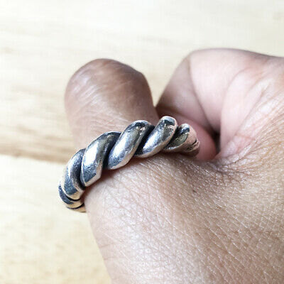 Artisan Design Ancient Viking Massive Twisted Cable Bold Pure Silver Ring Sz10.5