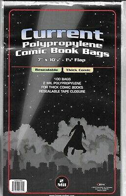 (200) Bcw Resealable Thick Current / Modern Comic Book Size Bags / Covers