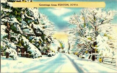 1940'S. GREETINGS FROM FENTON, IOWA. POSTCARD t7
