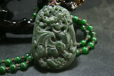 Natural Green Hand-carved Chinese Hetian Jade Pendant Dragon Necklace
