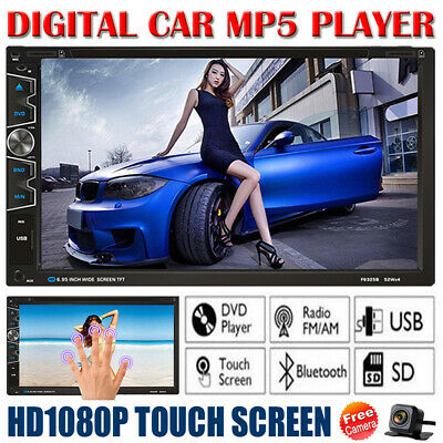 """7"""" Double 2Din Car Stereo FM Radio MP5 DVD Player Bluetooth Touchscreen + Camera"""