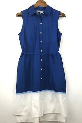 be672dd0 REED Krakoff Womens Dip Dye Sleeveless Shirt Shift Midi Dress Blue/White  Medium