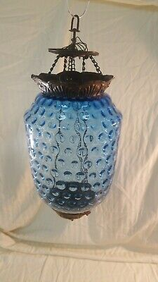 Antique Blue Glass And Brass Lamp. Fenton?