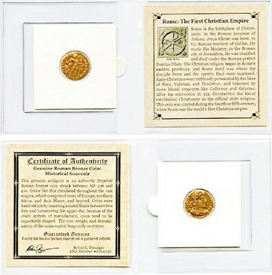 Roman Bronze Coin,The First Christian Empire ,Mini Album,Story And Certificate