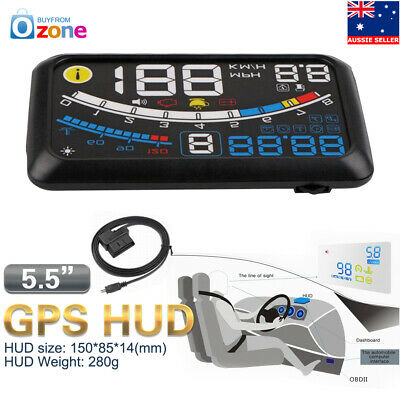 "Car HUD Head Up Display OBD2 EUOBD 5.5"" GPS MPH/KM Speed Warning Speedometer"