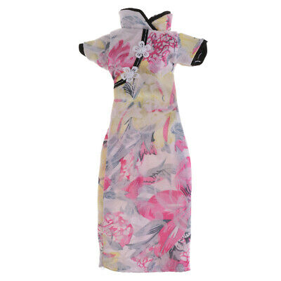 Doll Cheongsam Dress for  Doll Gown Skirt Outfit Clothes Shirt Pink
