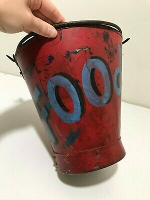 "Antique Primitive ""Food"" Metal Milk Bucket Painted Rustic Old Country Pail"