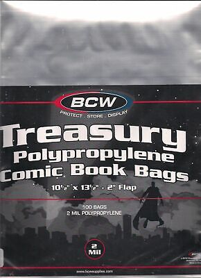 (200) Bcw Treasury Comic Book Size Bags / Covers