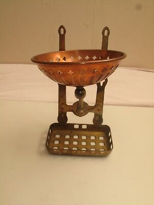 Vtg Antique Victorian Style Copper Brass Soap Dish Farm House Sink Scrubby Holdr